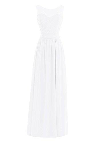 Formelles De Longues Robes De Soirée Bess Femmes De Mariée En Dentelle Robe De Bal En Mousseline De Soie Blanche