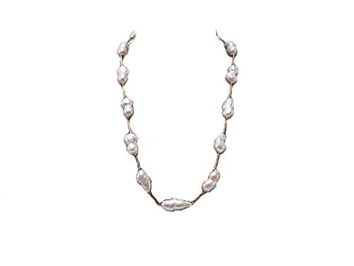 JYX Pearl Strand Station Necklace Baroque Freshwater Cultured Pearl Tin Cup Necklace