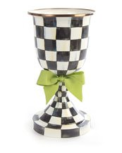 Courtly Check Pedestal Vase with Green Bow, BLACK/WHITE by MacKenzie-Childs (Image #1)