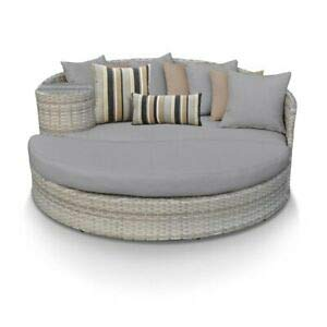 (JumpingLight TKC Fairmont Round Patio Wicker Daybed in Gray Durable and Ideal for Patio and Backyard)