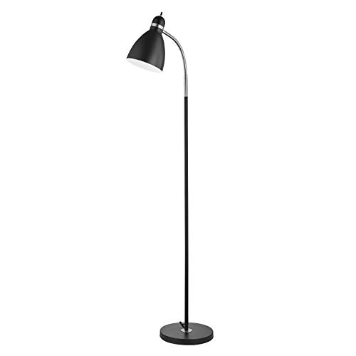 - Light Society LS-F258-BK Hadley Black Adjustable Gooseneck Floor Lamp with Nickel Accents, Contemporary Modern Style
