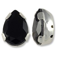 Swarovski Pear Shape 2-Hole Setting 14x10mm Jet Silver Plated (Package of 1)