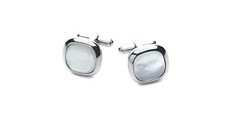 RoseCo United Men's Cufflinks Stainless Steel | Choose Color Mother of Pearl or Black Onyx | with Shiny Silver Trimming | Cuff Links Looks and Feel Sharp | Cool and Fashionable with Gift Box