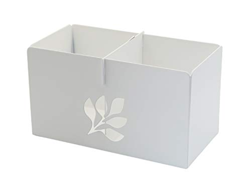 Yang's Choice Multi-Functional Storage Divider (2 Grid) Succulents Container Desk/Table Organizer Plant Container for Home and Garden Decor with Two 2.8 inch Nursery pots Inside (White) (Bench Divider)
