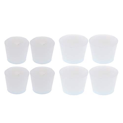 Shiwaki 8 tlg. Labor Silikon Stopfen Konische Korken für Flaschen, Reagenzgläser, Weiß