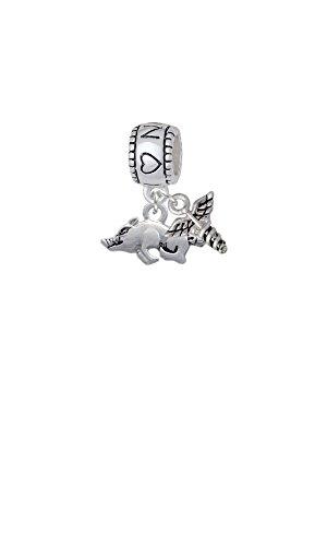 Delight Beads Silvertone Antiqued Razorback - I Heart Nursing with Mini Caduceus Charm Bead ()