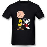 AICH Men's Charlie Brown and Snoopy Joe Cool Black T Shirt Size XL