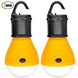 2 Pack Sanniu Portable LED Lantern Tent Light Bulb for Camping Hiking Fishing Emergency Light, Battery Powered Camping Equipment Gear Gadgets Lamp for Outdoor & Indoor(YELLOW)
