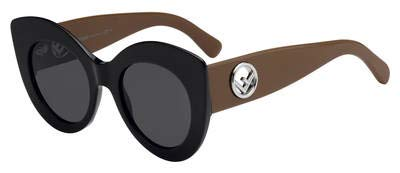 (Sunglasses Fendi Ff 306 /S 0R60 Black Brown/IR gray blue)