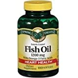Spring Valley Enteric Coated Fish Oil Softgels with Omega-3, 1200mg, 100 Count