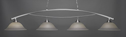 (Toltec Lighting 874-BN-602 Bow - Four Light Billiard, Brushed Nickel Finish with Gray Linen Glass)