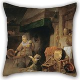 Uloveme Oil Painting Nys, Pieter - Woman Spinning Pillow Cases ,best For Her,deck Chair,coffee House,floor,kids,saloon 18 X 18 Inches / 45 By 45 Cm(twice (Bugs Bunny Female Adult Costume)