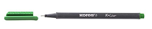 Kores K-Liner Fineliner, Metal-clad Tip, 0.4mm, Green (Box of 12)