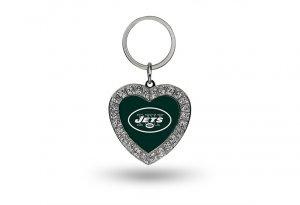 NFL New York Jets Rhinestone Heart Keychain - Nfl Key Ring