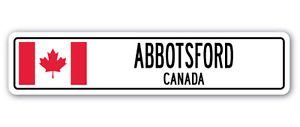 ABBOTSFORD, CANADA Street Sign Decal Sticker Canadian flag city country road wall gift