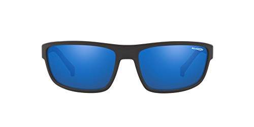 Arnette Men's AN4259 Borrow Rectangular Sunglasses, Matte Black /Blue Mirror, 63 ()