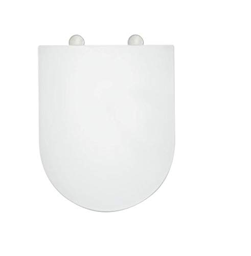 White D-Shape Easy Cleaning Soft Close Quick Release Hinges Toilet Seat Adjustable