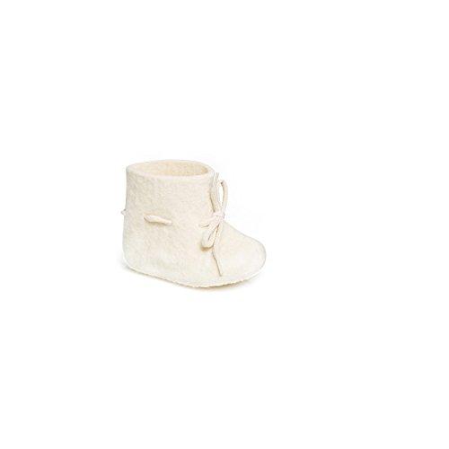 Glerups E-03-00-18 New Born Felt Bootie, White, Size 18