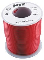 NTE Electronics WH24-02-100 Hook Up Wire, Stranded, Type 24 Gauge, 100' Length, Red (Tj 2 Hooks)