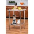 24 in. W Stainless Steel Kitchen Work Center with Adjustable Bottom Shelf
