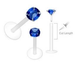 Blue Prong set gem Flex Flexible Bioplastic Labret Monroe lip tragus piercing bar Ring Rings 16g