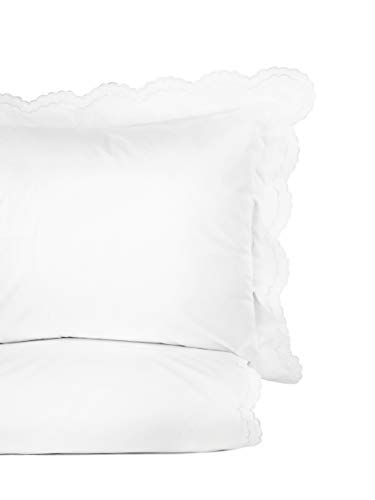 (Melange Home Percale Cotton Double Scalloped Embroidered FQ Duvet Set, Full/Queen White)