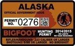 """Alaska AK Bigfoot Hunting Permit 2.4"""" x 4"""" Decal Sticker"""