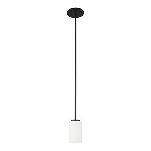 Sea Gull Lighting 61160-839 Oslo One-Light Mini-Pendant with Cased Opal Etched Glass Shade, Blacksmith ()
