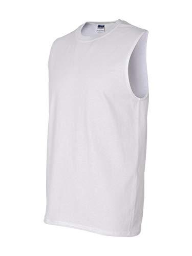 Gildan Men's Ultra Cotton Double Needle Sleeveless T-Shirt, Small, White