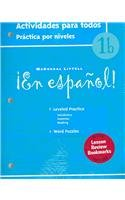 ¡En español!: Actividades para todos (Workbook) with Lesson Review Bookmarks Level 1B (Spanish Edition) [MCDOUGAL LITTEL] (Tapa Blanda)