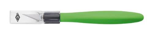 WEDO 7852199 Cutter Skalpell Comfortline mit Softgriff inklusive 5 Ersatzklingen und Schutzkappe, apfelgrün/schwarz