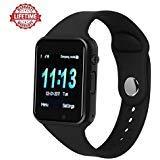 (Smart Watch Kkcite Bluetooth Touch Screen Smartwatch Unlock Cell Phone Sim 2G GSM with Camera Sleep Monitor, Push Message, Anti Lost Etc for Men Women Kids (Spray Black))