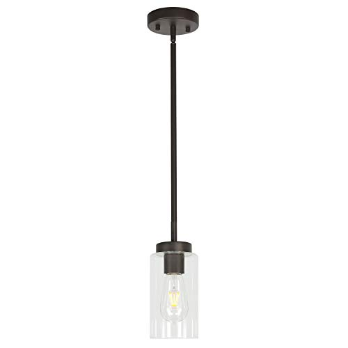 VINLUZ One Light Chandeliers Modern Clear Glass Pendant Lighting Oil Rubbed Bronze Dining Room Lighting Fixtures Hanging Contemporary Lamp Semi Flush Mount Ceiling Lights
