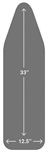 TIVIT Italian Made 12.5 x 33 Inch Ironing Board Cover, AlumiTek PRO Silicone Coated Technology with Scorch Resistant & 3 Layer Padded one-Piece Construction - Color/Gray (Patent Pending) (Covers 33)