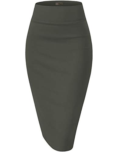 HyBrid & Company Womens Pencil Skirt for Office Wear KSK45002 1073T Gunmetal M