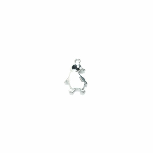 Shipwreck Beads Pewter Epoxy Penguin Charm, Silver, 15 by 22mm, 2-Piece (Charm Penguin Pendant)
