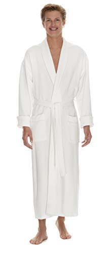 (Boca Terry Mens Robe - Super Soft & Plush Long Robe for Men - Diamond Knit Waffle - XXXXL White )