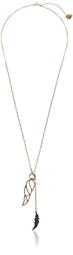 - Betsey Johnson Angels & Wings Crystal Feather Long Lariat Necklace, 33