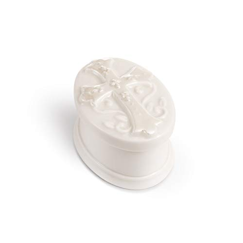 DEMDACO Rosary Classic White 3 x 2 Glossy Porcelain Decorative Trinket Box Set