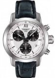 Tissot PRC200 Chronograph White Dial Black Leather Mens Watch T0552171603800