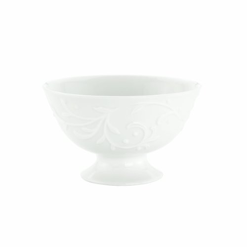 Porcelain Footed Bowl - Lenox Opal Innocence Carved 4-1/2-Inch Footed Dessert Bowl