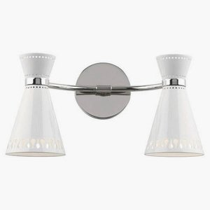 Robert Abbey W708 Sconces with Powder Coat White Metal Shades, Polished Nickel Finish (Robert Abbey Contemporary Sconce)