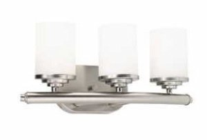 Forte Lighting 5105-03-55 Bath Vanity with Satin Opal Glass Shades, Brushed Nickel