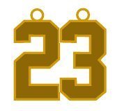 Number 23 Jersey Style Sports Necklace Charm Pendant #23 (0.8'' Tall - Standard Size) GOLD PLATED Perfect For: Football, Baseball, Basketball, Soccer, Hockey, Softball, Volleyball, Lacrosse & More