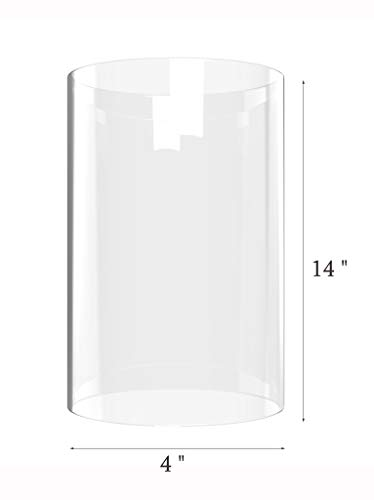 Amayan Clear Glass Cylinder Lampshade-Borosilicate Glass Height 14'' Diameter 4'' - Suitable for Wedding Decoration and Stage Props- Candle - (Multiple Specifications) by Amayan (Image #5)