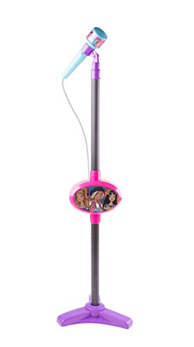Barbie MS1-01059 Singing Basic Kids Microphone Stand, Music Sing Along, Speaker and Handle Assembly, Works with Your Smartphone by Bluetooth Connecting, Best Gift for Children, Pink (Barbie With Stand Microphone)