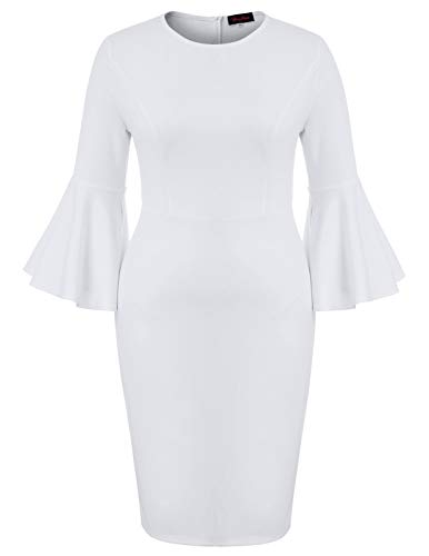 Hanna Nikole Women's Elegant Wear to Work Ruffle Pencil Office Career Maxi Dress White 24W