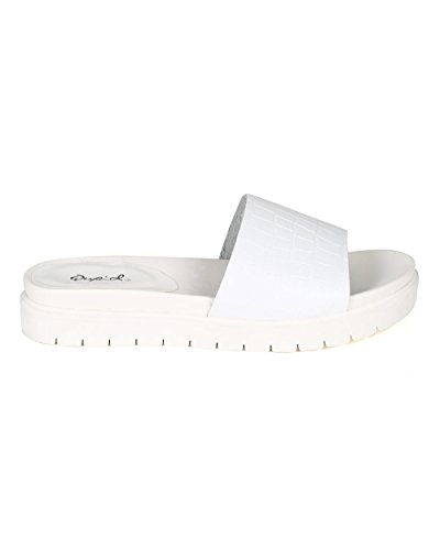 Qupid Ca73 Femme Crocodile Similicuir Bout Ouvert Bande Plate Pantoufle Plate - Similicuir Blanc