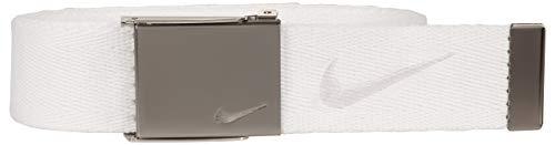 Nike Men's Embroidered Swoosh Web Belt, White, One - White Belt Web