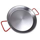 - The Hungry Cuban paella pan 15 inches or 38 centimeter carbon steel, red handle, made in Spain, best size for home cook.